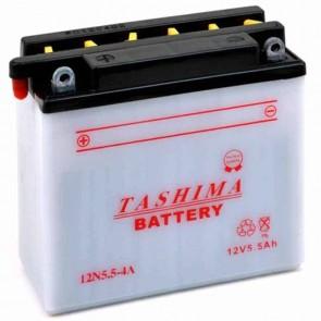 Battery 12V, 5,5A. L: 135, w: 60, H: 130mm, + left for motorcycles. (delivered without acid),