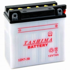 Battery 12V, 7A. L: 135, w: 75, H: 133mm, + right for motorcycles. (acid not included).