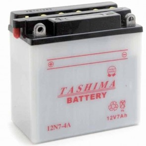 Battery 12V, 7A. L: 135, w: 75, H: 133mm, + left for scooters, motorcycles, snowscooters. (acid not included).