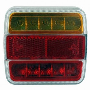 LED rear light, left or right, 12V, 4+1 functions (stop/night light/turn signal/license plate light + reflector).