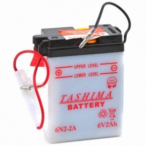 Battery 6V, 2A. L: 70mm, w: 47mm, H: + right, for motorcycles. (delivered without acid).