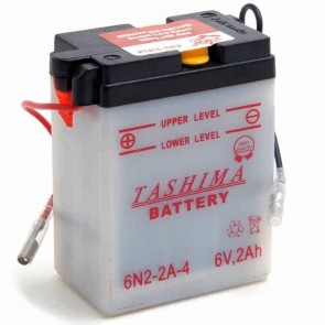 Battery 6V, 2A. L: 70, w: 47, H: 96mm, + right, for scooters, motorcycles. (delivered without acid).