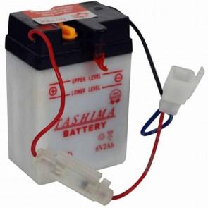 Battery 6V, 2A. L: 70, w: 47, H: 104mm, + links. (delivered without acid). Ventilation valve at the backside.