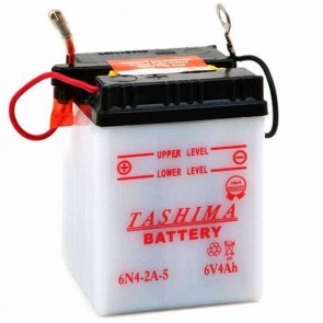 Battery 6V, 4A. L: 71, w: 71, H: 96mm, + right for motorcycles. (delivered without acid).