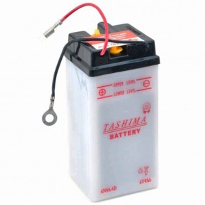 Battery 6V, 4A. L: 61, w: 57, H: 131mm, + right, for motorcycles. (delivered without acid).