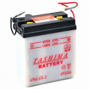 Battery 6V, 6A. L: 99, w: 57, H: 111mm, + right, for motorcycles. (delivered without acid).