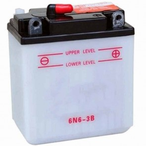 Battery 6V, 6A. L: 99, w: 57, H: 120mm, + right for motorcycles. (delivered without acid).