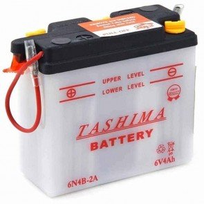 Battery 6V, 4A. L: 102, w: 48, H: 96mm, + links, for motorcycles. (delivered without acid).