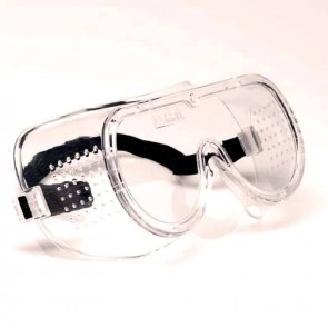 Safety glasses with strap and anti-dust ventilation. Standard EN166.