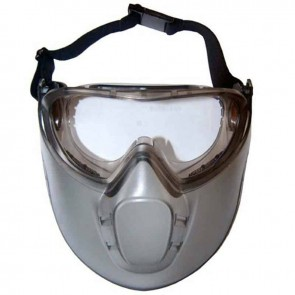 Safety glasses + protective mask in polycarbonate and acetate, colorless, anti-fogging, EN166, impact resistant.