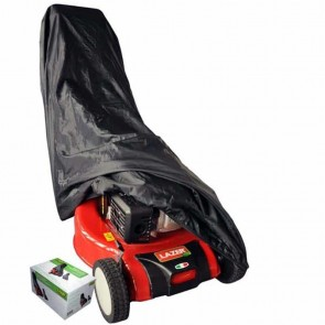 Black polyester cover for lawn mowers. Dimensions: 185 x 59 x 68cm.