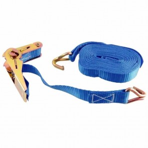 Ratchet strap - max cap: 500 Kg. Includes 1 strap, 1 ratchet, 2 metal J-hooks - Dimensions: 25mm x 5 meters
