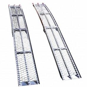 Pair foldable bent aluminium ramps - Length: 225cm - width: 29cm. Max cap: 600kg/pair