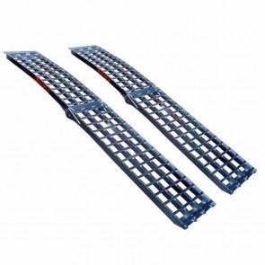 Bent foldable ramp, high quality aluminium, anti slip profile. L 244cm, w: 43 cm. Max cap: 650kg/ramp. SOLD PER PIECE.