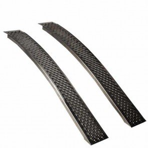 Pair bent aluminium ramps, high quality, anti slip profile. L: 150cm, w: 21,5 cm. Max cap: 400kg/pair.