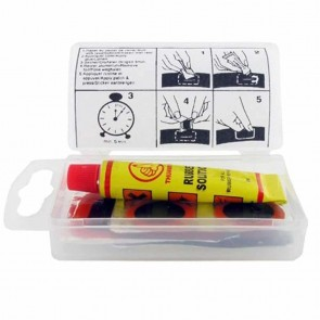 Tire repair patch kit small, assortment 5 pcs (4 small Ø 20mm, 1 large 45x25mm) with glue and rasp.