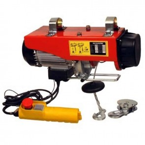 Electric hoist 230 V - 510 W. Lift cap. : 125 / 250 kg. Lift height : 12 / 6 m. Lift speed : 10 / 5 m/min