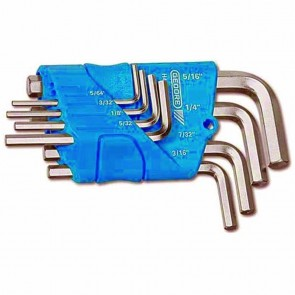 Set male wrenches - Inches 5/64 - 3/32 - 1/8 - 5/32 - 3/16 - 7/32 - 1/4 - 5/16""