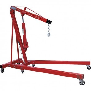 Workshop crane with hydraulic Cylinder, max 2 T. Lifting height : 2,36 m. Dimensions on ground : 180 X 105 cm.