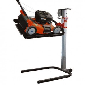 Professional lift for mowers, tillers, aerators, etc. Table rotates 360°. Easy to maneuver with transport wheels. Perfect access to machine, for repair and maintenance jobs. Manual winch. Max : 115 kg. Height max : 122 cm. with 2 safety straps.