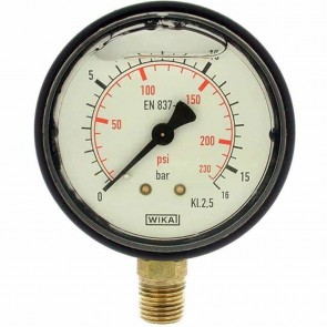 Glycerine manometer. Pressure 0/16 bar. Ø 1/4''