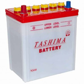 Battery for lawn tractors 12V, 32A. L: 196, w: 128, H:224mm, + left, with conical connection (Japanese type) (geschikt voor KUBOTA).