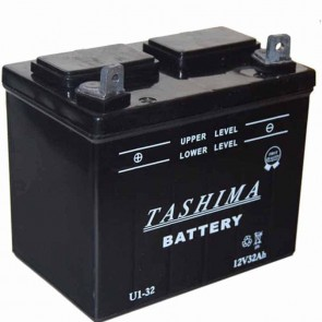 Battery for lawn tractors 12V, 32A. L: 196, w: 131, H: 184mm, + left. (acid not included).