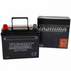 Battery for lawn tractors 12V charged, maintenance free, 28A. L: 195, w: 130, H:185mm, + left. Replaces original: U1L9