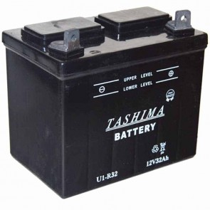 Battery for lawn tractors 12V, 32A. L: 196, w: 131, H: 184mm, + right. (acid not included).
