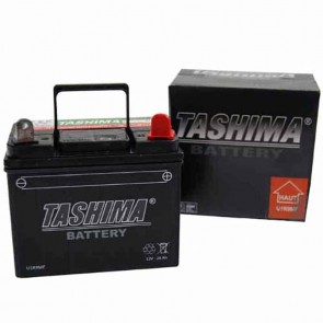 Battery for lawn tractors 12V charged, maintenance free, 28A. L: 195, w: 130, H: 185mm, + right. Replaces original: U1R9
