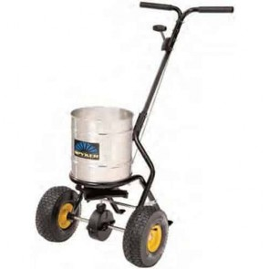 "Push spreader semi-pro, 22 kg capacity, Powder coated frame, Stainless steel round hopper, Spreading width 1,2 - 3,7 m, aluminium gears, 10"" x 4"" (254 x 102 mm)"