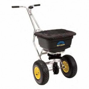 "Push spreader pro, 22 kg capacity, stainless steel frame, poly hopper with cover, Spreading width 1,2 - 3,7 m, Metal gears with lifetime warranty, 13"" x 5"" (330 x 127 mm)"