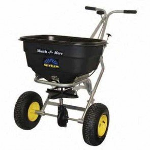 """Push spreader pro, 55 kg capacity, stainless steel frame, poly hopper, Spreading width 1,2 - 4,0 m, Metal gears with lifetime warranty, 13"""" x 5"""" (330 x 127 mm) wheels"""