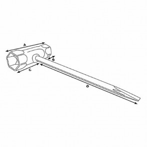 Spark Plug Wrench with Screwdriver.Dimensions: 13 x 19mm