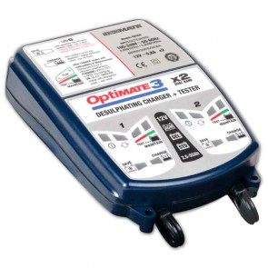 Battery charger OPTIMATE 3, for 12 V batteries - Amp: 2 - 30 Ah - Loading charge: 0,8 A - with desulphation function - Ideal for testing/charging 2 batteries at the same time.