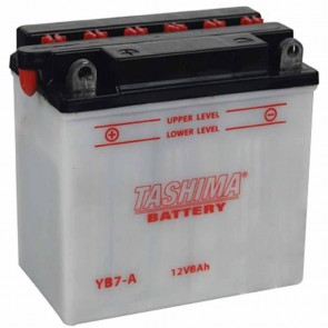 Battery 12V, 8A. L: 130, w: 75, H: 133mm, + left for scooter motorcycles, snowscooters (acid not included).