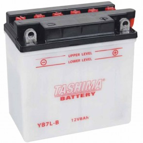Battery reinforced 12V, 8A. L: 135, w: 75, H: 133mm, + right for motorcycles, snowscooters. (delivered without acid).